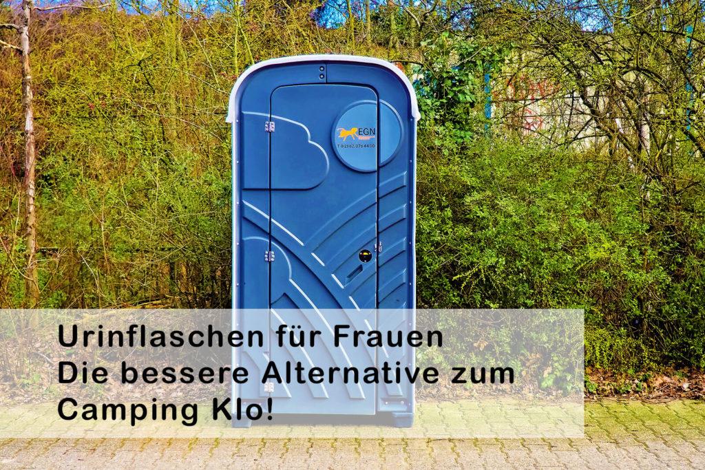 Leicht transportierbare Pipi-Flaschen für Frauen sind oft die bessere Alternative zu Camping-Toiletten, wie man sie oft auf Zeltplätzen oder auf Festivals findet (Foto: Pixabay).